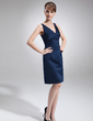 Sheath/Column V-neck Knee-Length Satin Mother of the Bride Dress (008005958)
