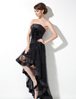 A-Line/Princess Strapless Asymmetrical Taffeta Tulle Prom Dress With Ruffle Feather (018021078)