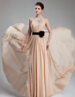 A-Line/Princess Halter Floor-Length Chiffon Prom Dress With Ruffle Beading Flower(s) (018019734)
