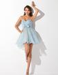 Yüksek Bel Kalp Kesimli Kısa/Mini Organza Satin Mezunlar Gecesi Elbisesi (022007286)