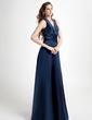 Çan/Prenses V Yaka Uzun Etekli Satin Nedime Elbisesi Ile Büzgü Boncuklama (007001728)