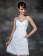 Sheath/Column Sweetheart Knee-Length Lace Wedding Dress With Beading Sequins (002000222)