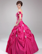 Ball-Gown Sweetheart Floor-Length Taffeta Quinceanera Dress With Embroidered Ruffle Beading (021003148)