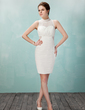 Sheath/Column High Neck Short/Mini Chiffon Lace Cocktail Dress With Ruffle (016021211)