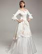 A-Line/Princess Off-the-Shoulder Sweep Train Satin Taffeta Wedding Dress With Lace Beading Flower(s) (002017530)