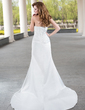 Trumpet/Mermaid Sweetheart Court Train Satin Wedding Dress With Ruffle Beading (002001175)