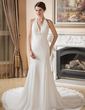 Trumpet/Mermaid Halter Chapel Train Chiffon Wedding Dress With Ruffle Beading Appliques Lace (002000043)