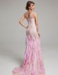 Trumpet/Mermaid Scoop Neck Sweep Train Lace Evening Dress With Beading Cascading Ruffles (017017526)
