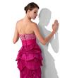 Corte trompeta/sirena Escote corazón Hasta el suelo Tafetán Vestido de baile de promoción con Bordado Lentejuelas Plisado (018005254)