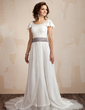 A-Line/Princess Scoop Neck Court Train Chiffon Wedding Dress With Ruffle Sash Beading Bow(s) (002012665)