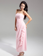 Sheath/Column Strapless Ankle-Length Chiffon Bridesmaid Dress With Beading Cascading Ruffles (007014866)