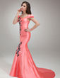 Trumpet/Mermaid Off-the-Shoulder Sweep Train Satin Prom Dress With Beading Appliques Lace Sequins (018018817)