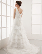 A-Line/Princess V-neck Court Train Organza Wedding Dress With Beading Appliques Lace Cascading Ruffles (002000398)