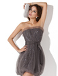 Sheath/Column Scalloped Neck Short/Mini Tulle Cocktail Dress With Ruffle Sequins (016013722)