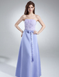 A-Line/Princess Strapless Floor-Length Chiffon Satin Bridesmaid Dress With Ruffle Bow(s) (007001772)