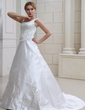 A-Line/Princess Scoop Neck Chapel Train Satin Wedding Dress With Embroidered Beading Sequins (002012681)