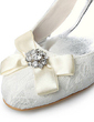 Saten Makara Topuk Kapalı Parmak Bağcıksız Düğün Ayakkabıları Ile Toka Suni Elmas Saten Çiçek Dikiş Danteli (047005736)