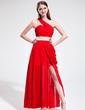 A-Line/Princess One-Shoulder Asymmetrical Chiffon Holiday Dress With Ruffle Sash Split Front (020039562)