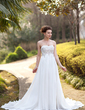 Empire Sweetheart Court Train Chiffon Wedding Dress With Ruffle Lace Beading (002012793)