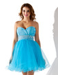 Empire Sweetheart Short/Mini Tulle Homecoming Dress With Ruffle Beading (022010164)