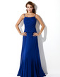 A-Line/Princess Scoop Neck Floor-Length Chiffon Bridesmaid Dress With Ruffle (007001137)