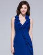 Sheath/Column Halter Floor-Length Chiffon Evening Dress With Ruffle Bow(s) Cascading Ruffles (007037261)