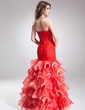 Trumpet/Mermaid Sweetheart Asymmetrical Organza Prom Dress With Beading Split Front Cascading Ruffles (018016881)
