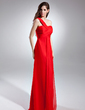 Empire One-Shoulder Floor-Length Chiffon Evening Dress With Ruffle (017015600)