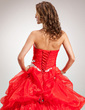 Ball-Gown Sweetheart Floor-Length Organza Quinceanera Dress With Ruffle Appliques Lace Flower(s) (021016386)