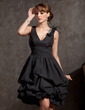 A-Line/Princess V-neck Knee-Length Chiffon Lace Cocktail Dress With Ruffle Lace Beading Feather (016014834)