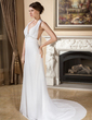 A-Line/Princess Halter Court Train Chiffon Wedding Dress With Ruffle Lace Beading Bow(s) (002011966)