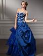 Balo Elbisesi Kalp Kesimli Uzun Etekli Tafta Organza Quinceanera (15 Yaş) Elbisesi Ile Büzgü Dantel Boncuk Pullar (021013815)