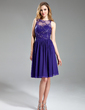 A-Line/Princess Scoop Neck Knee-Length Chiffon Lace Bridesmaid Dress With Ruffle (007019648)