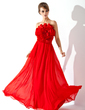 A-Line/Princess Strapless Floor-Length Chiffon Prom Dress With Flower(s) (018004788)