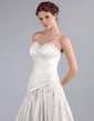 A-Line/Princess Sweetheart Cathedral Train Satin Wedding Dress With Ruffle Beading Appliques Lace (002026260)