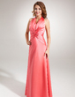 A-Line/Princess Halter Floor-Length Charmeuse Bridesmaid Dress With Ruffle (007001848)