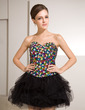 A-Line/Princess Sweetheart Short/Mini Tulle Sequined Cocktail Dress With Beading (016014256)