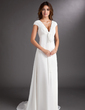 A-Line/Princess V-neck Sweep Train Chiffon Wedding Dress With Ruffle Beading (002011619)