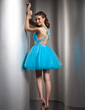 A-Line/Princess V-neck Short/Mini Tulle Homecoming Dress With Beading (022020907)