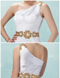Sheath/Column One-Shoulder Short/Mini Charmeuse Cocktail Dress With Ruffle Beading Sequins (016021246)