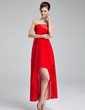 A-Line/Princess Strapless Asymmetrical Chiffon Charmeuse Homecoming Dress With Ruffle (022019603)