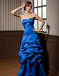 Empire Sweetheart Floor-Length Satin Bridesmaid Dress With Ruffle Crystal Brooch (007001066)