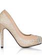Leatherette Sparkling Glitter Stiletto Heel Pumps Platform Closed Toe shoes (085022624)