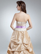 A-Line/Princess Strapless Floor-Length Taffeta Quinceanera Dress With Ruffle Sash (021016041)
