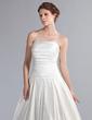 Corte A/Princesa Estrapless Cola capilla Satén Vestido de novia con Volantes (002001188)