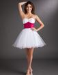 Empire Sweetheart Short/Mini Tulle Homecoming Dress With Sash Beading (022020753)