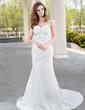 Forme Sirène/Trompette Bustier en coeur Traîne moyenne Satiné Robe de mariée avec Plissé Emperler (002001175)
