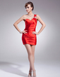 Sheath/Column One-Shoulder Short/Mini Charmeuse Cocktail Dress With Ruffle Beading (016008739)