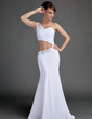 Trumpet/Mermaid One-Shoulder Floor-Length Chiffon Evening Dress With Ruffle Beading (017015674)
