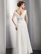 A-Line/Princess V-neck Floor-Length Chiffon Evening Dress With Ruffle (017014811)